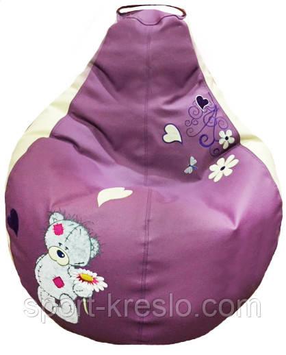 Кресло бескаркасное груша sportkreslo мишка Тедди Экокожа размер S 80*100см сиреневый+белый
