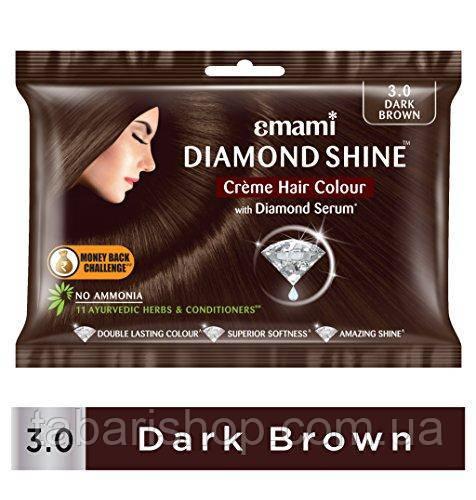 Крем-краска для волос Темно-Коричневый Эмами, Diamond Shine Creme Hair Colour Emami, 20 г + 20 мл