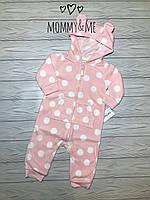 Флисовый комбинезон для девочки розовый в горох  Carters 3м на рост 55-61 см