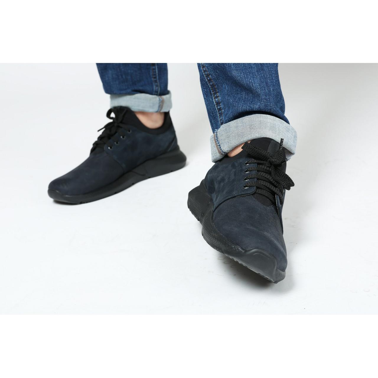 Мужские кроссовки темно-синего цвета из натурального замша