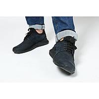 Мужские кроссовки темно-синего цвета из натурального замша, фото 1