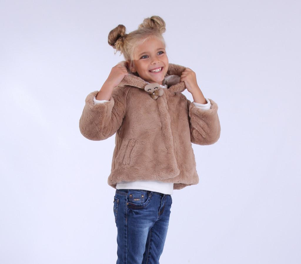 Детская куртка-шубкас ушками демисезонная для девочки | 80-120р.