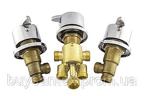 Кран вбудовується на борт ванни, змішувач для гідромасажної ванни, на три потоки (CKLJ8888) Комплект 3 шт., фото 2