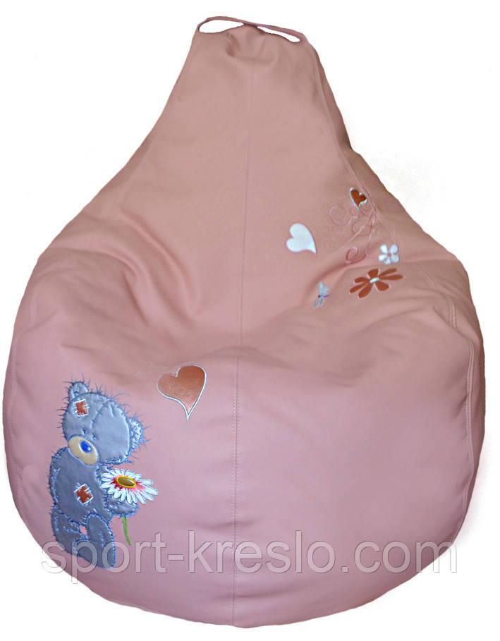 Пуф Крісло груша sportkreslo ведмедик Тедді Екокожа розмір L 95*115cm рожевий