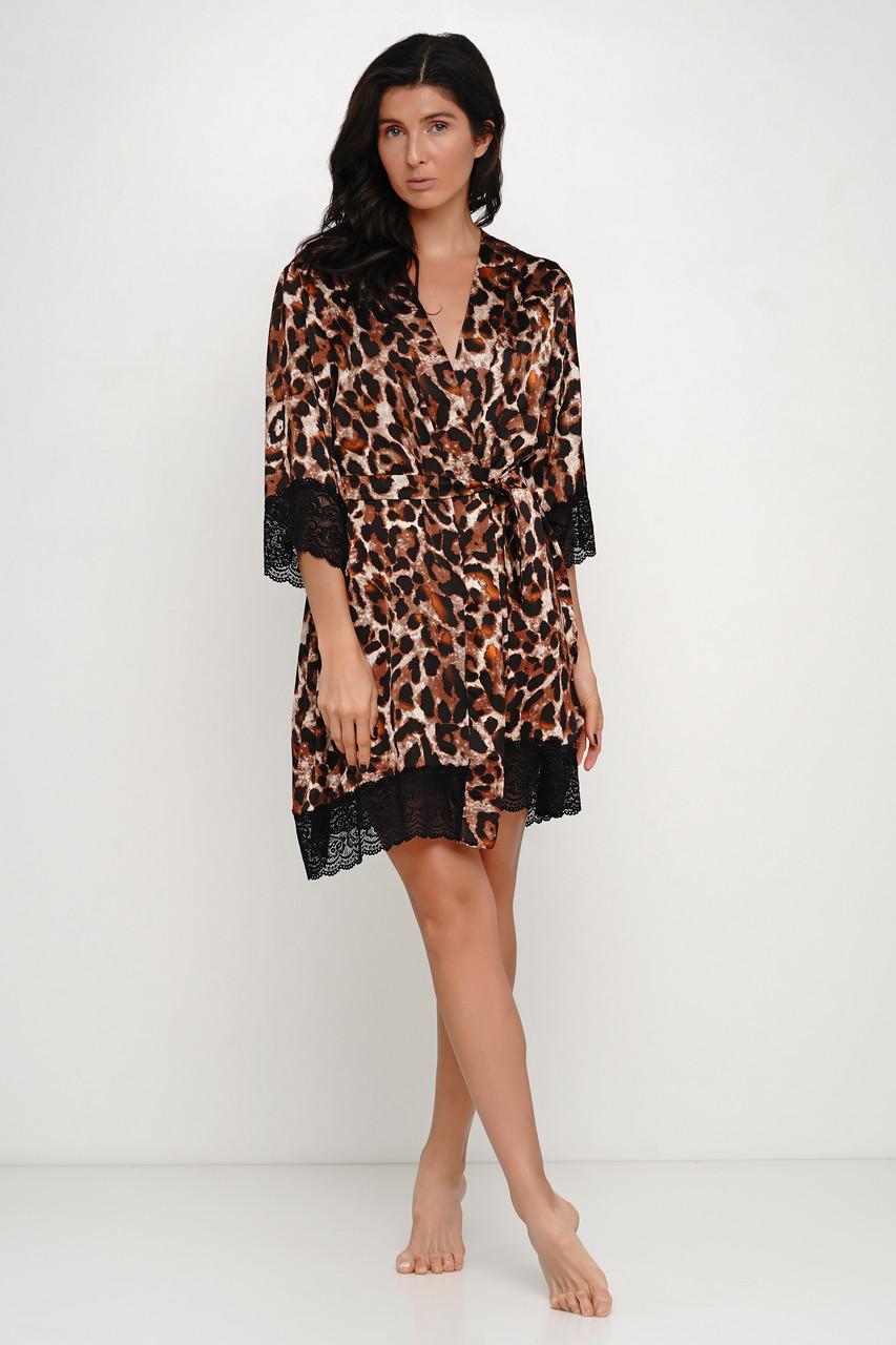 Женский леопардовый шелковый халат с поясом