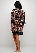Женский леопардовый шелковый халат с поясом, фото 2