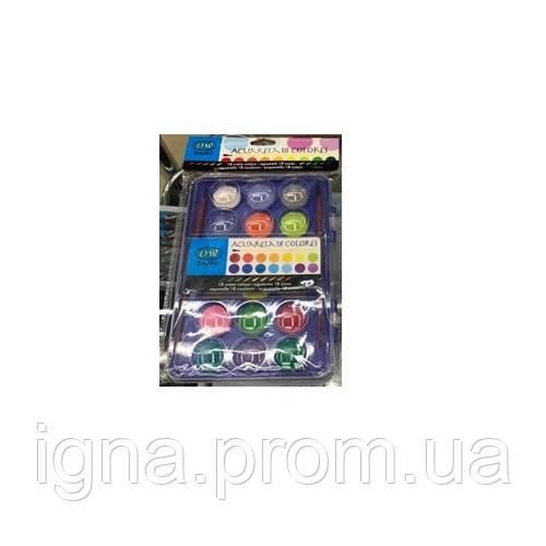Краски акварельные неон 18цв с кисточкой ST00223 (144наб)