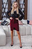 Женская вельветовая юбка 1064 (42 44 46 48) (цвет бордо) СП