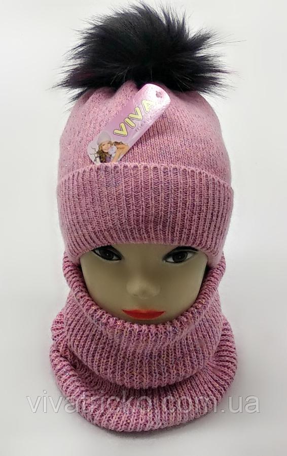 М 5094 Комплект для девочки с люрексом шапка+хомут,кашемир,флис