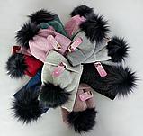 М 5094 Комплект для девочки с люрексом шапка+хомут,кашемир,флис, фото 4