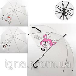 Зонтик детский MK 3650 (100шт) длина73см,трость59см,диам.91см,спица53см, клеенка,3вида,в кульке,