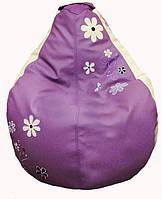 Кресло мешок пуф sportkreslo с вышивкой Ромашка Экокожа размер XL 110*130см сиреневый+белый