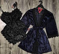 Комплект домашней одежды из бархата халат+пижама(майка и шорты).