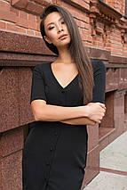 Осеннее платье по фигуре на пуговицах цвет черный, фото 2