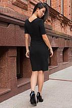 Осеннее платье по фигуре на пуговицах цвет черный, фото 3