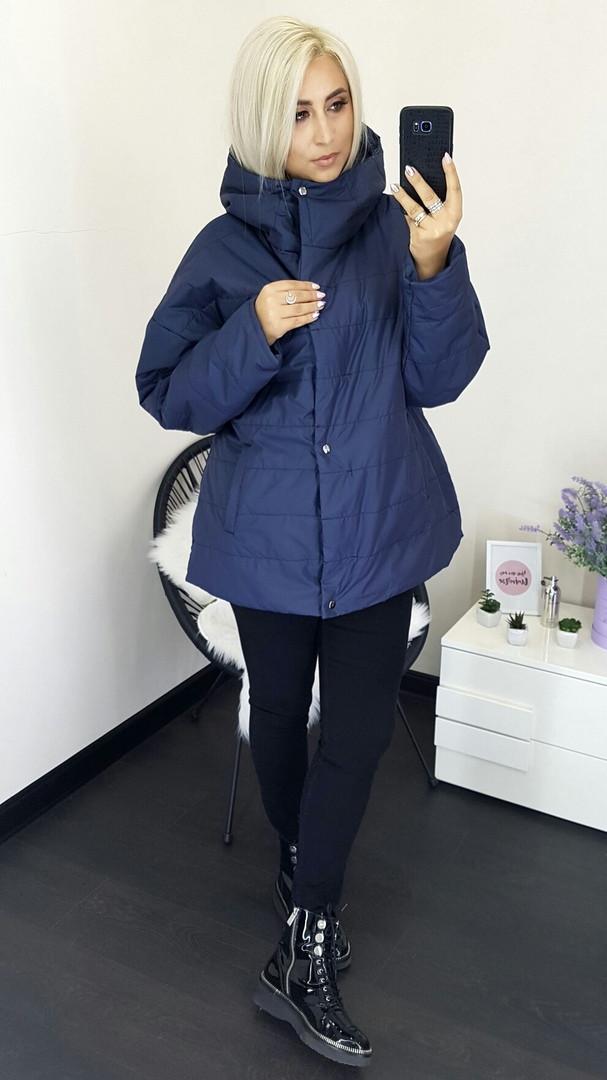 """Стильная женская куртка на синтепоне """"Nora"""" с капюшоном (большие размеры)"""