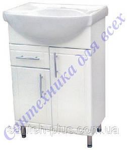 Тумба в ванную комнату с умывальником и выдвижными ящиком на ножках Изео-60 Т3/4
