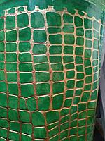 Кожзам мебельная ткань лакированный глянец на войлочной основе ширина 140 см цвет зеленый, фото 1