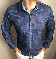 Рубашка мужская S,M,XL длинный рукав. Турция. Молодежная трансформер турецкая рубашка. Фиолет