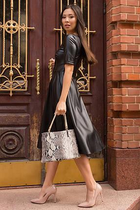 Демисезонное платье миди юбка солне эко-кожа цвет черный, фото 2