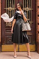Демисезонное платье миди юбка солне эко-кожа цвет черный