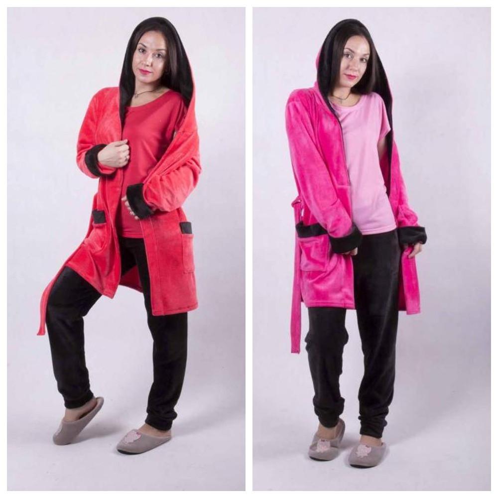 Женский махровый комплект халат с пижамой