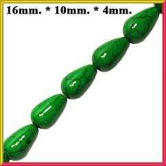 Бусины Капли Большие Цвет Зеленый Размер 16*10-4 мм Длина Нити 40 см.