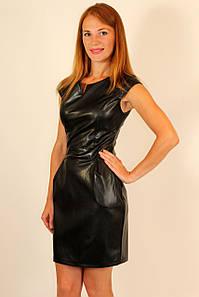 Кожаное платье с коротким рукавом ( синий, черный ) 42-48 р