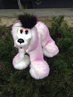 Розовая игрушка марионетка, собака, пушистая, как живая. Серая, белая, розовая, долматин, фото 1