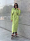 Женские длинный тренч под пояс с воротником стойкой 58pt191, фото 2