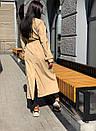 Женские длинный тренч под пояс с воротником стойкой 58pt191, фото 5