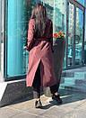 Женские длинный тренч под пояс с воротником стойкой 58pt191, фото 8