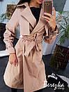 Женский коттоновый тренч с ремешками на рукавах и поясом на талии 66pt192Q, фото 2