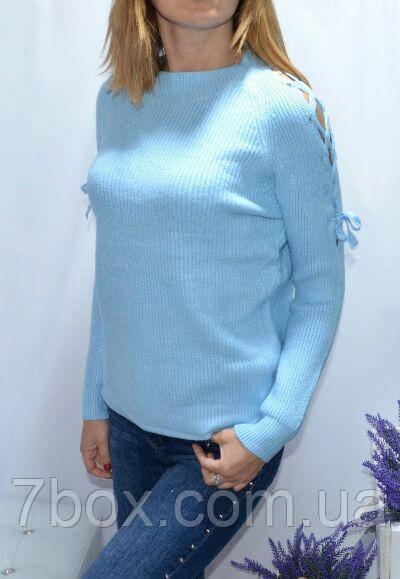 Кофточка женская со шнуровкой на плечах. Универсальный рр 42-48.Голубой