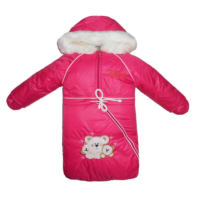 Комбинезон-трансформер на овчине  3-ка  комбинезон,куртка, мешочек + перчатки,малиновый