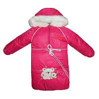 Комбинезон-трансформер на овчине  3-ка  комбинезон,куртка, мешочек + перчатки,малиновый             , фото 1