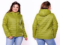 Женская демисезонная батальная куртка с капюшоном 46- 64р. (4 расцв)