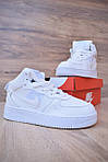 Кроссовки Nike Air Force 1 Mid LV8 белые зимние, на меху, проошиты, фото 8