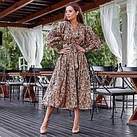 Женское свободное платье с поясом коричневое