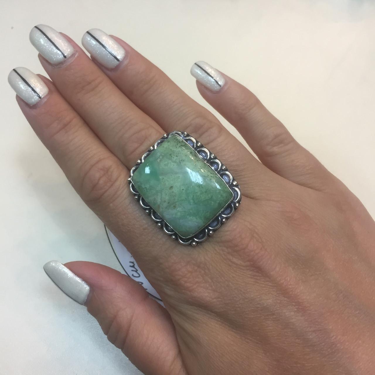 Хризопраз кольцо с хризопразом 17 размер. Кольцо природный хризопраз в серебре Индия