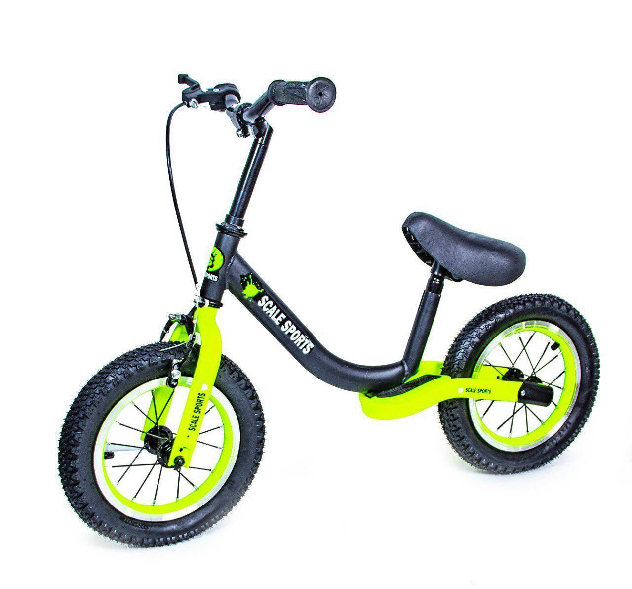 Велобег Scale Sports с тормозом, деткам от 2 лет. Черно Салатовый