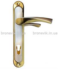 Ручка на планке PUNTO CORONA STL Yale 85 mm SN/GP (Сатин/золото)