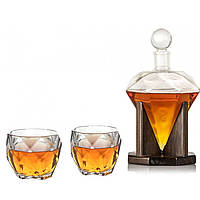 "Набор для виски ""Діамант"", (штоф 1000мл. + 2 стакана ""Діамант"")"