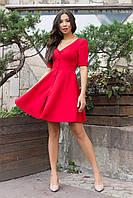 Демисезонное платье мини на каждый день рукав выше локтя декоративные пуговицы цвет красный