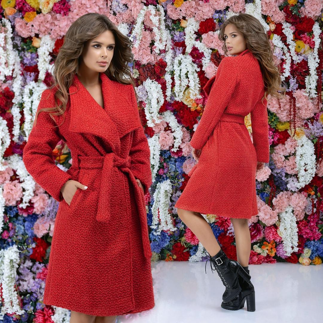 """Женское пальто букле на запах """"Adela"""" с поясом и карманами (4 цвета)"""