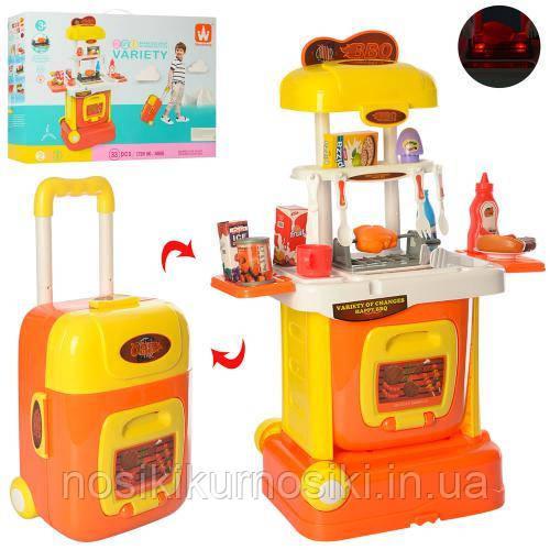 Игровой набор детская кухня W808 чемодан на колесах 33 предмета, звук, свет высота 69 см