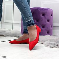 Женские красные туфли балетки на низком ходу замш, фото 1