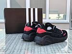 Мужские кроссовки Adidas (черно-красные), фото 2