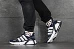 Чоловічі кросівки Adidas (темно-сині з білим), фото 3