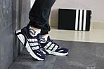 Чоловічі кросівки Adidas (темно-сині з білим), фото 4
